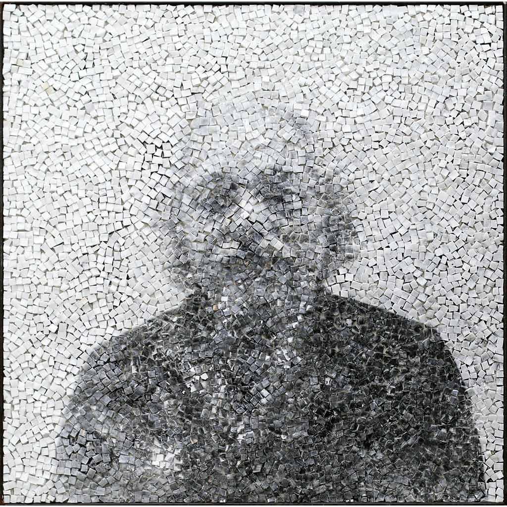 Trace 1, portrait en noir et blanc par Clément Mitéran, photographie argentique et mosaïque