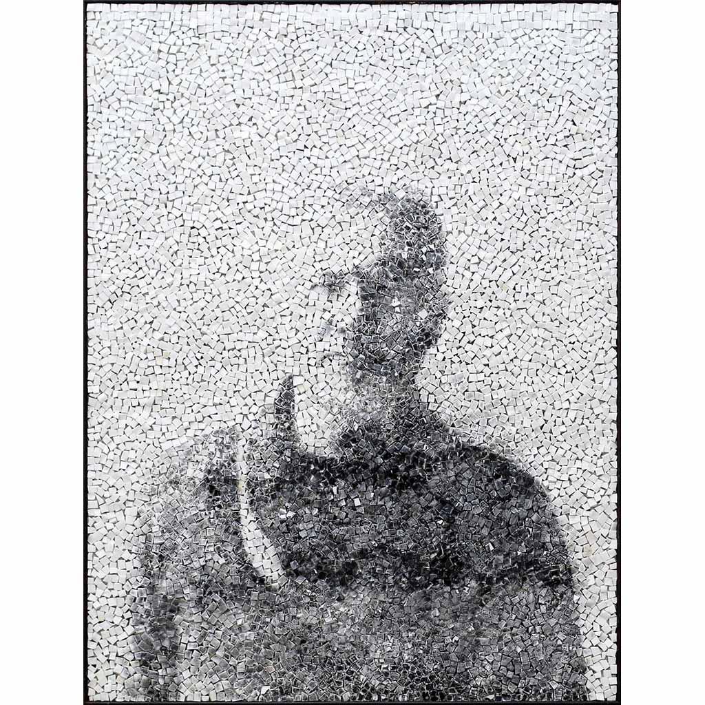 Trace 2, portrait en noir et blanc par Clément Mitéran, photographie argentique et mosaïque contemporaine