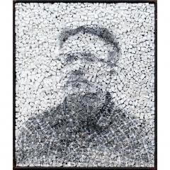 Spectre 6, portrait photographique anonyme en noir et blanc sur mosaïque contemporaine oeuvre de Clément Mitéran
