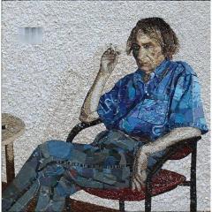 Portrait de Michel Houellebecq en mosaïque contemporaine