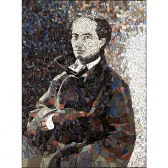 Portrait de Charles Baudelaire en mosaïque contemporaine