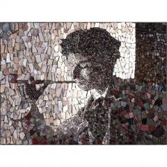 Portrait de Fumeur en mosaïque contemporaine