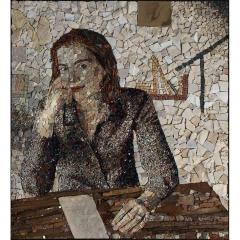 Portrait de Manon en mosaïque contemporaine