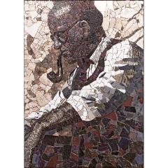 Portrait de fumeur à la pipe en mosaïque contemporaine