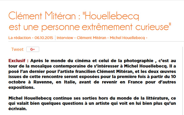 Interview de Clément Mitéran sur son portrait de Michel Houellebecq
