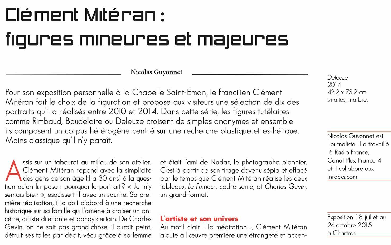Figures mineures et majeures, l'exposition de Clément Mitéran à Chartres vue par Mosaïque Magazine