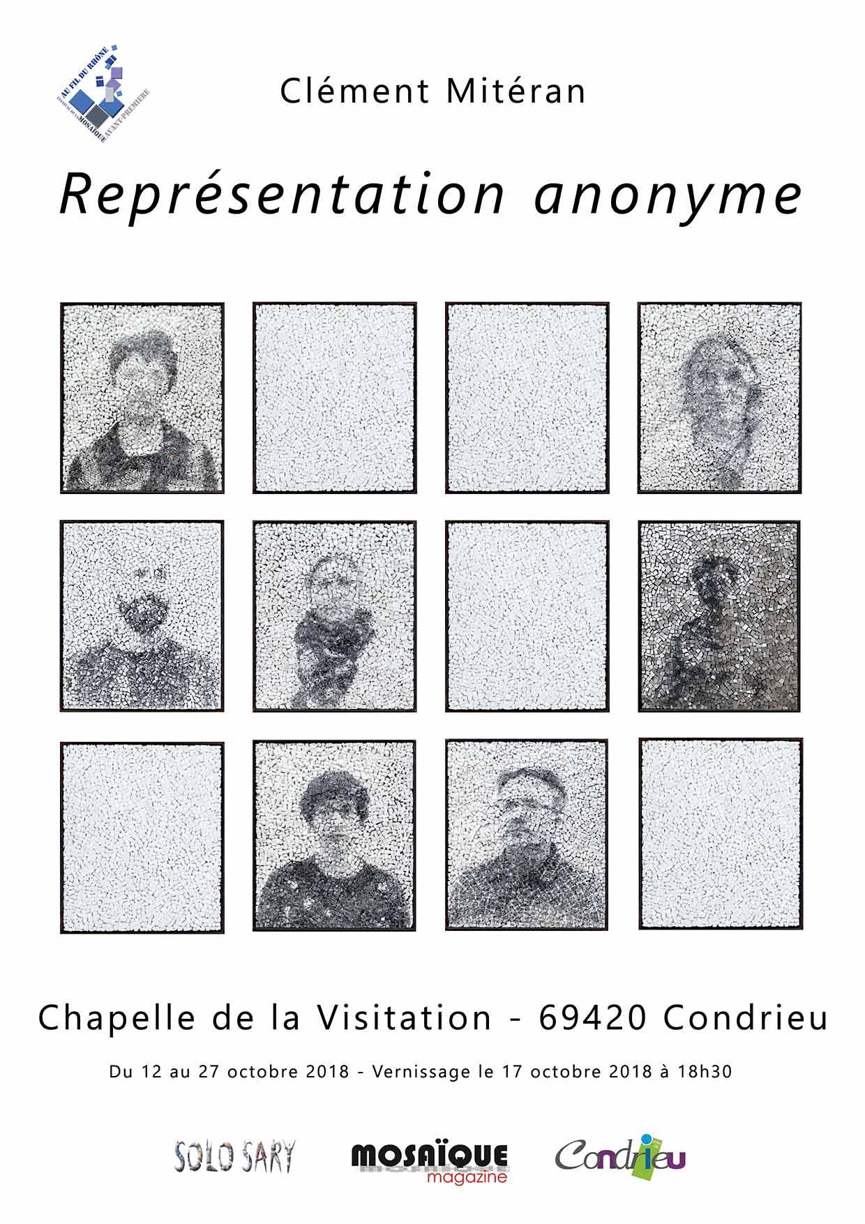 """Affiche de l'exposition """"Représenation anonyme"""" de Clément Mitéran à Condrieu"""